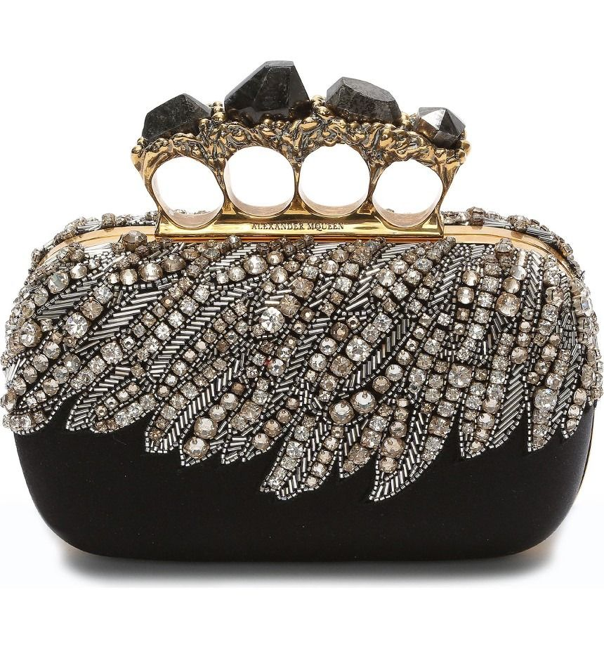 742ad11f16623 Embroidered eagle wings feathered in Swarovski crystals and platinum-hued  beads drape across this satin clutch featuring semiprecious black pyrite  stones ...