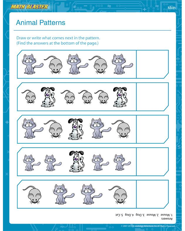 Animal Patterns - Pattern Worksheet for 1st Graders | 1st Grade ...