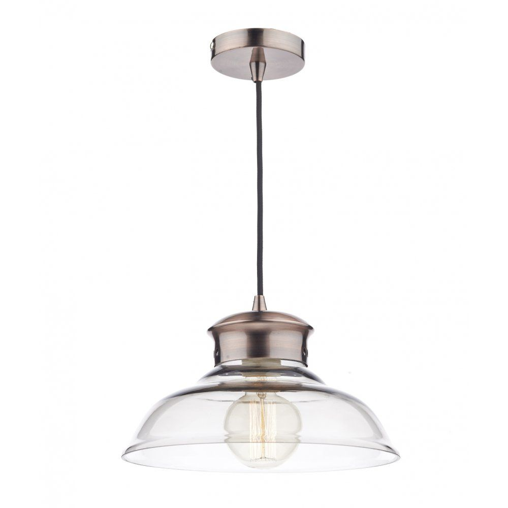 Charming Dar Lighting Siren Single Light Ceiling Pendant In Copper Finish With Clear  Glass Shade