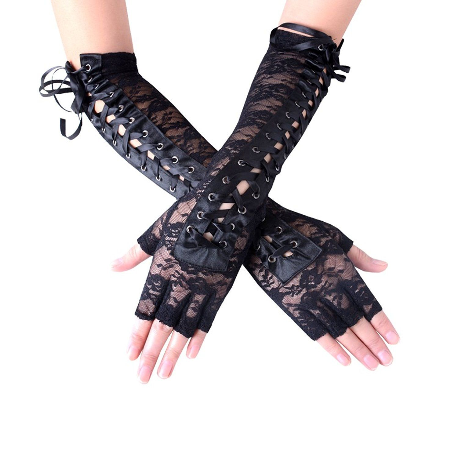 Black Rose lace fingerless gloves Holiday Fashion Cosplay Steampunk Lolita