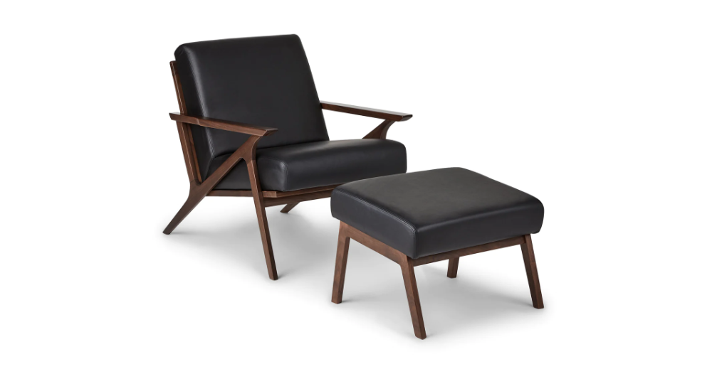 Best Otio Black Leather Walnut Lounge Chair Lounge Chair Mid 640 x 480