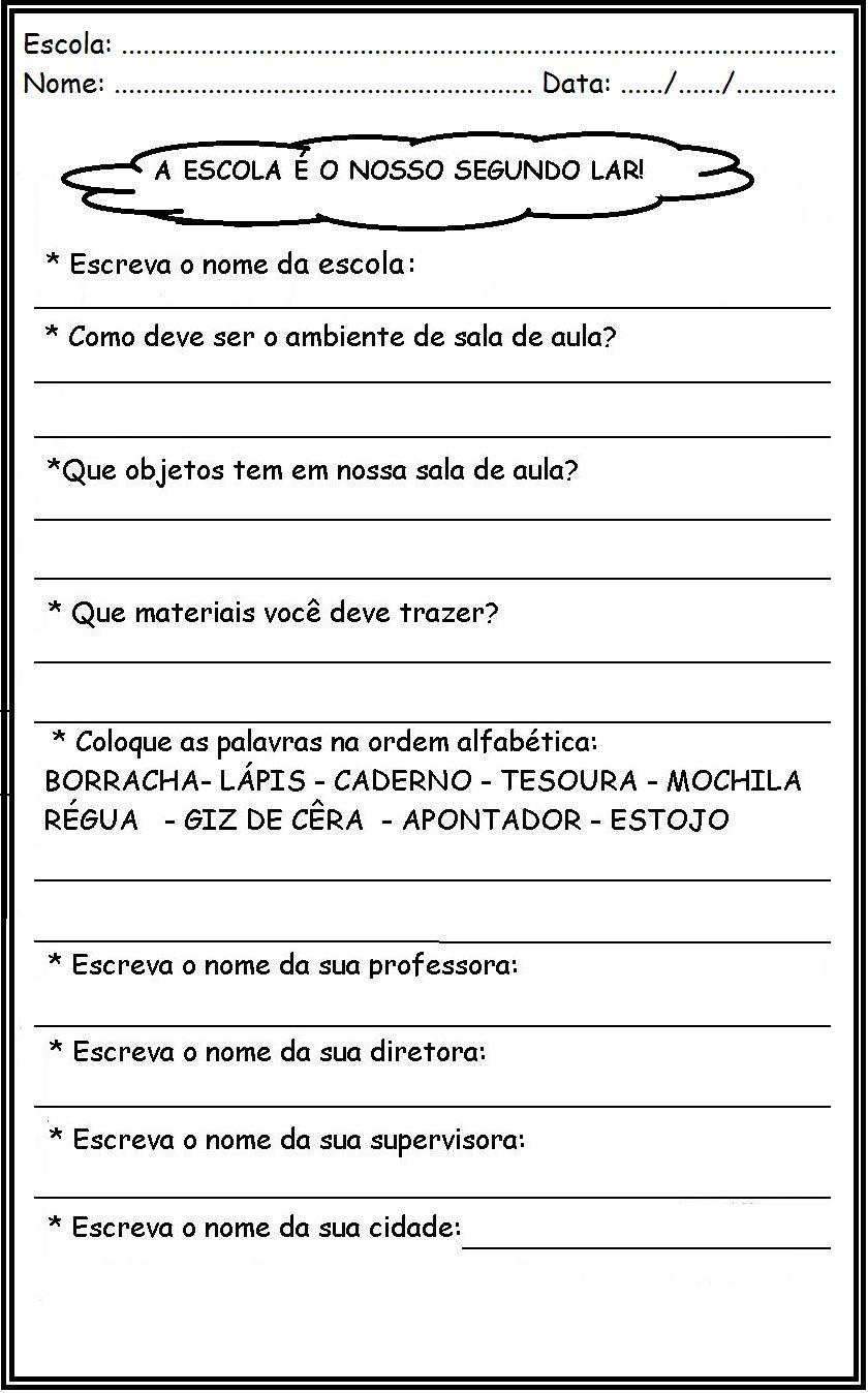 Atividades Volta As Aulas Para Imprimir Ola Amigos E Amigas Do So