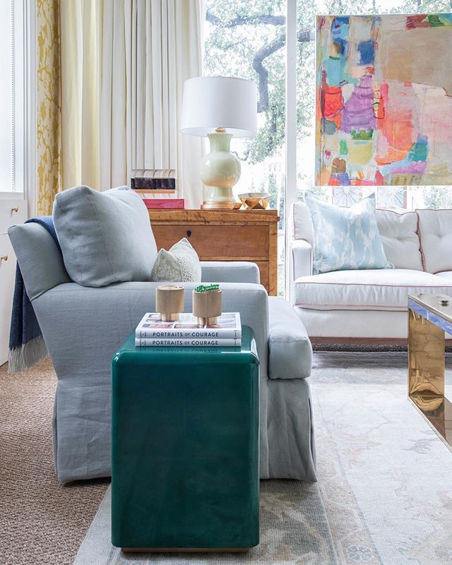 living room ideas   skirted club chair   white sofa with coral ...