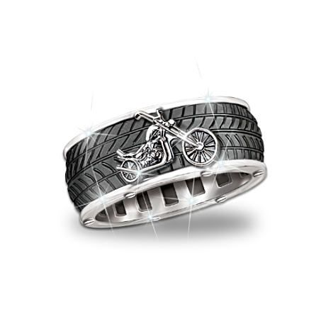 Motorcycle Mens Ring With Spinning Center Band Biker