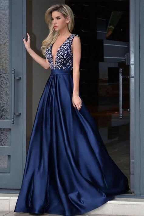 Formak, escote en V, espalda abierta, abalorios largos, vestidos de noche de satén Vestidos de baile US$ 179.00 VTOPMEQD7R7
