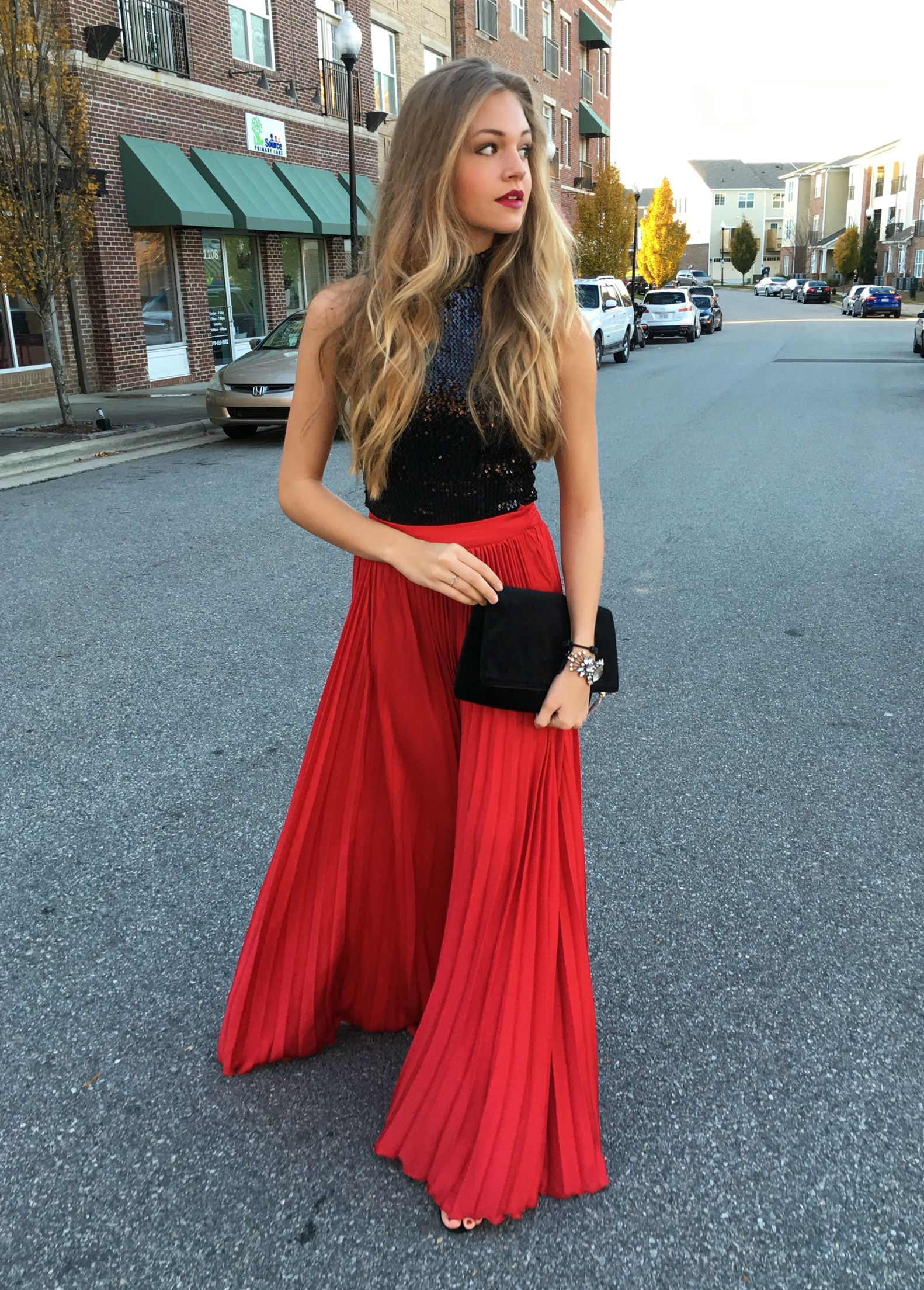 Red pleat maxi skirt #swoonboutique | Red pleated skirt, Christmas party  outfits, Holiday outfits