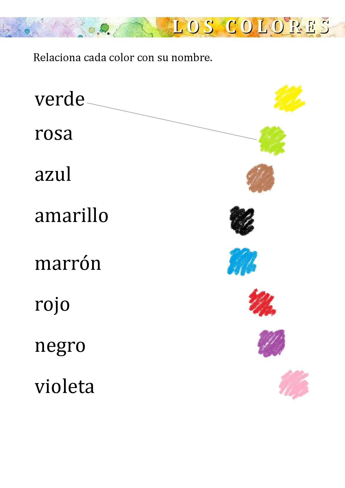 Worksheets Colors Kids Colores Spanish