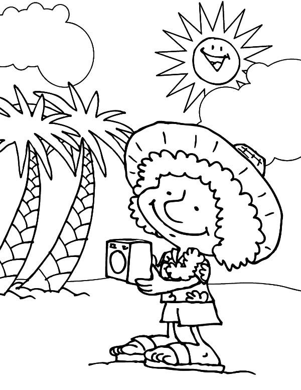 Funny Cartoon Beach Coloring Page