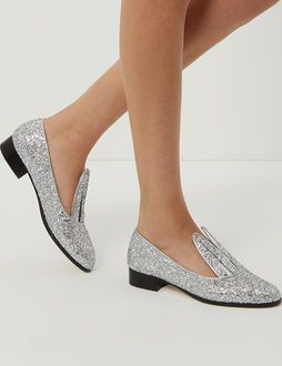 Silver Glitter Bunny Loafers  a2f23a6377c0