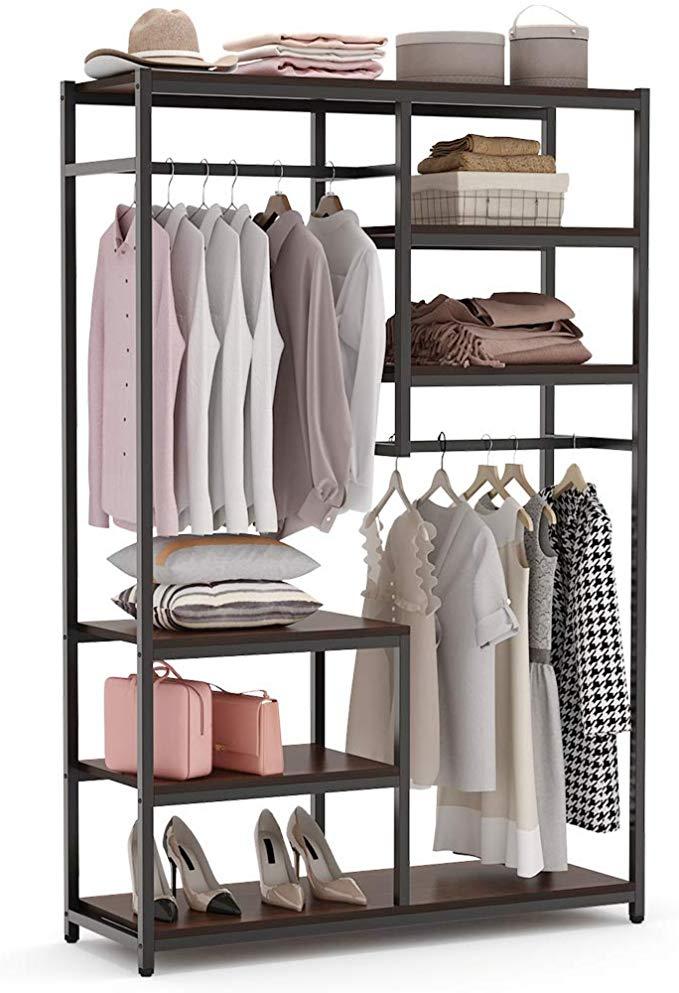 Amazon Com Tribesigns Free Standing Closet Organizer Double Hanging Rod Clothes Garment Racks With S In 2020 Standing Closet Free Standing Closet Clothes Rack Closet