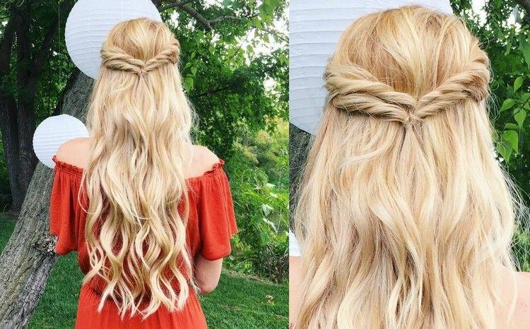 Einfache Frisuren Fur Hochzeit Als Gast Lange Haare Halboffen Hair