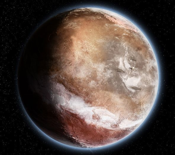 Mars as it may have appeared around 3.5-3.7 years ago, prior to the Tharsis Bulge forming