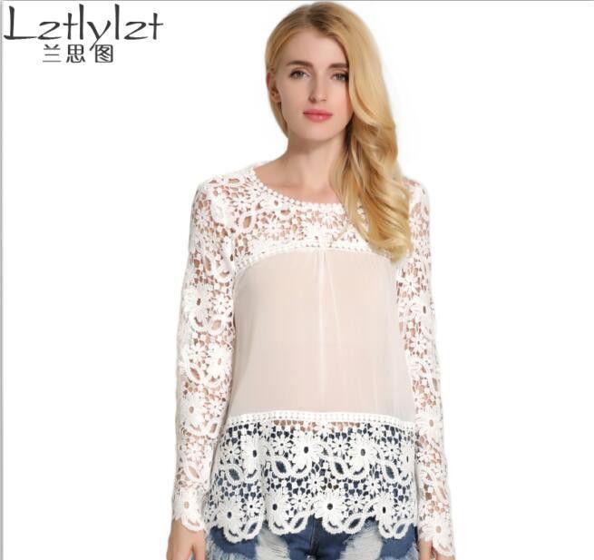 cb151838558 Lztlylzt M-XXXL Plus Size Women Lace Blouse 7 Colors Long Sleeve Chiffon Blouse  Tops Autumn Sexy Hollow Out Lace Shirt Tops
