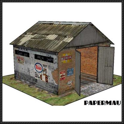 Old garage for diorama free building paper model download for Garage building software free download