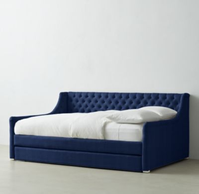 Devyn Tufted Daybed With Trundle Perrinials Navy Fabric Full Size Daybed With Trundle Full Daybed With Trundle Daybed Room