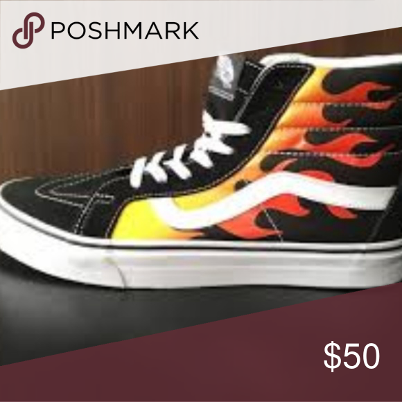 97fb1229ff Shoes High top fire flame vans size 7 worn twice Vans Shoes Sneakers ...
