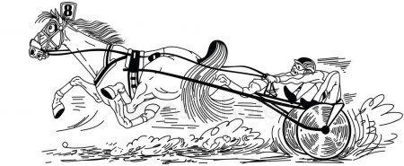 Cartoon Harness Horse Racing Fast Running Trotter Pulling