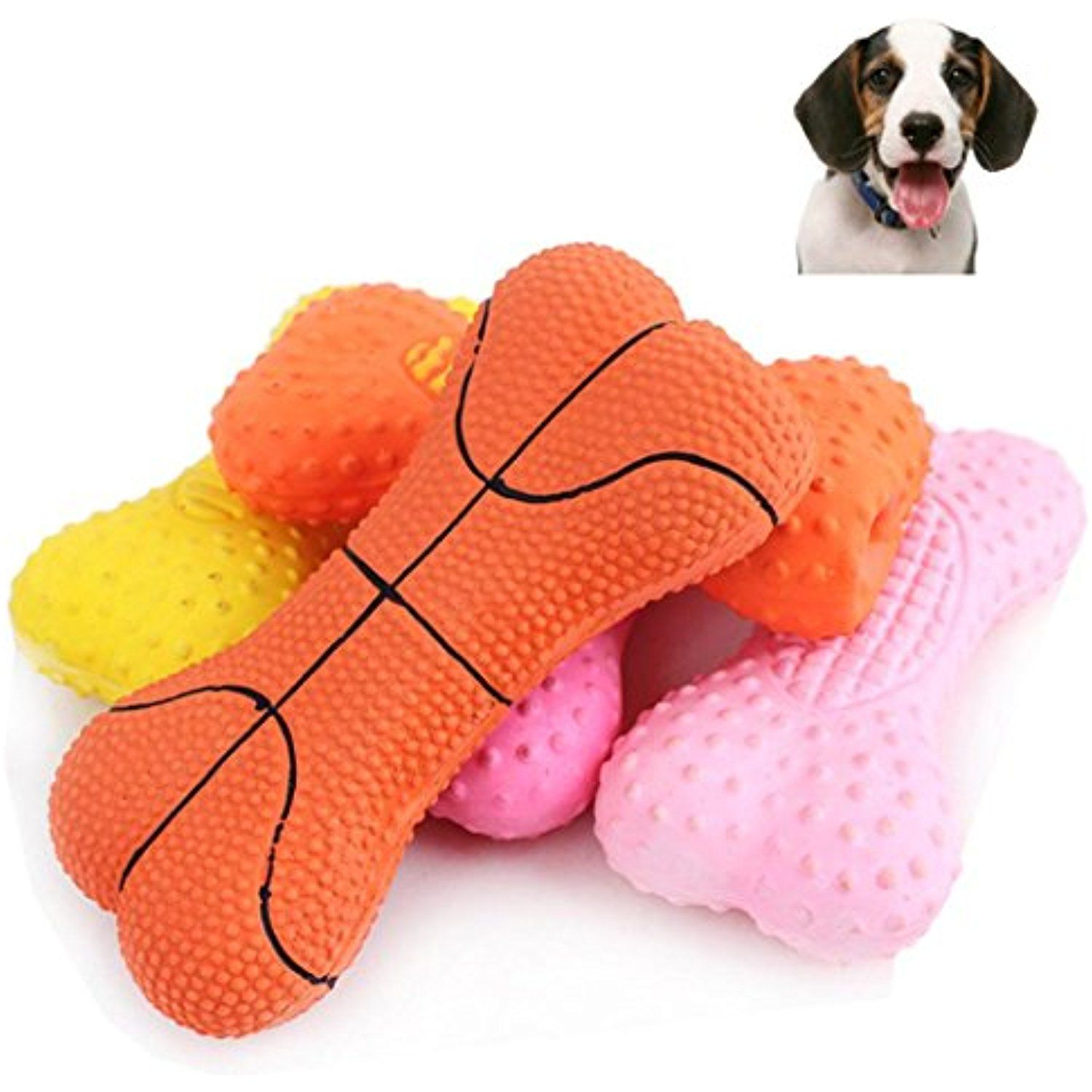 Gessppo Cute Bone Rubber Basketball Pet Squeaky Dog Toys