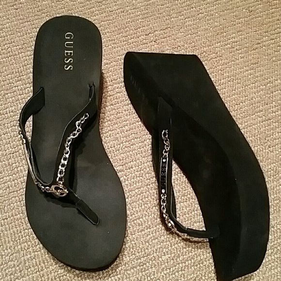 c2babe2e14105 Shop Women s G by Guess Black Gold size 10 Sandals at a discounted price at  Poshmark. Description  High heel flip flop very cute.