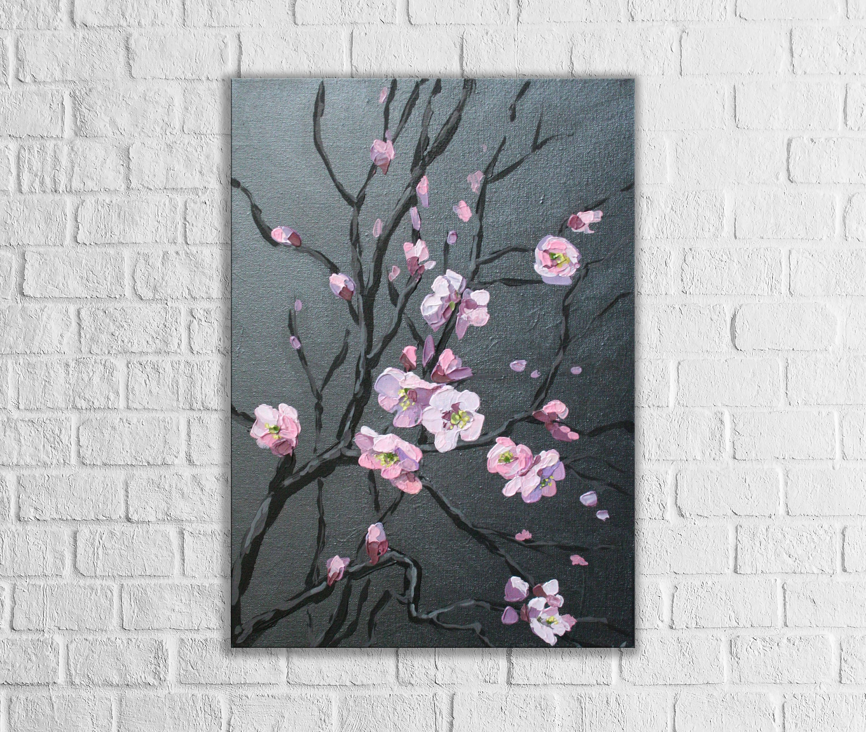Abstract Cherry Blossom Tree Original Canvas Art Dark Painting Flowers Palette Knif Cherry Blossom Painting Cherry Blossom Painting Acrylic Abstract Floral Art