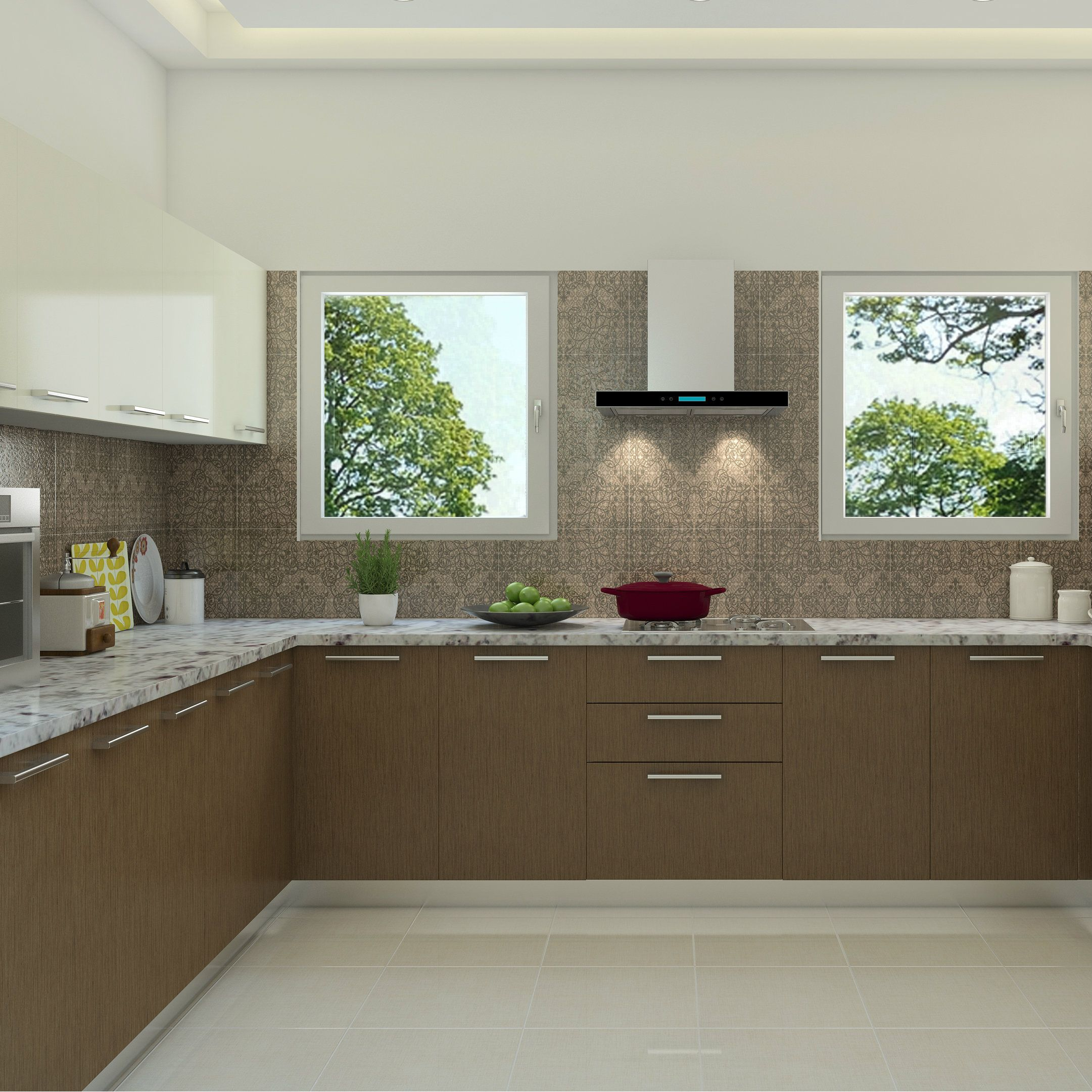 Beautiful Brown Shades In A Wood Finished Modular Kitchen Modular