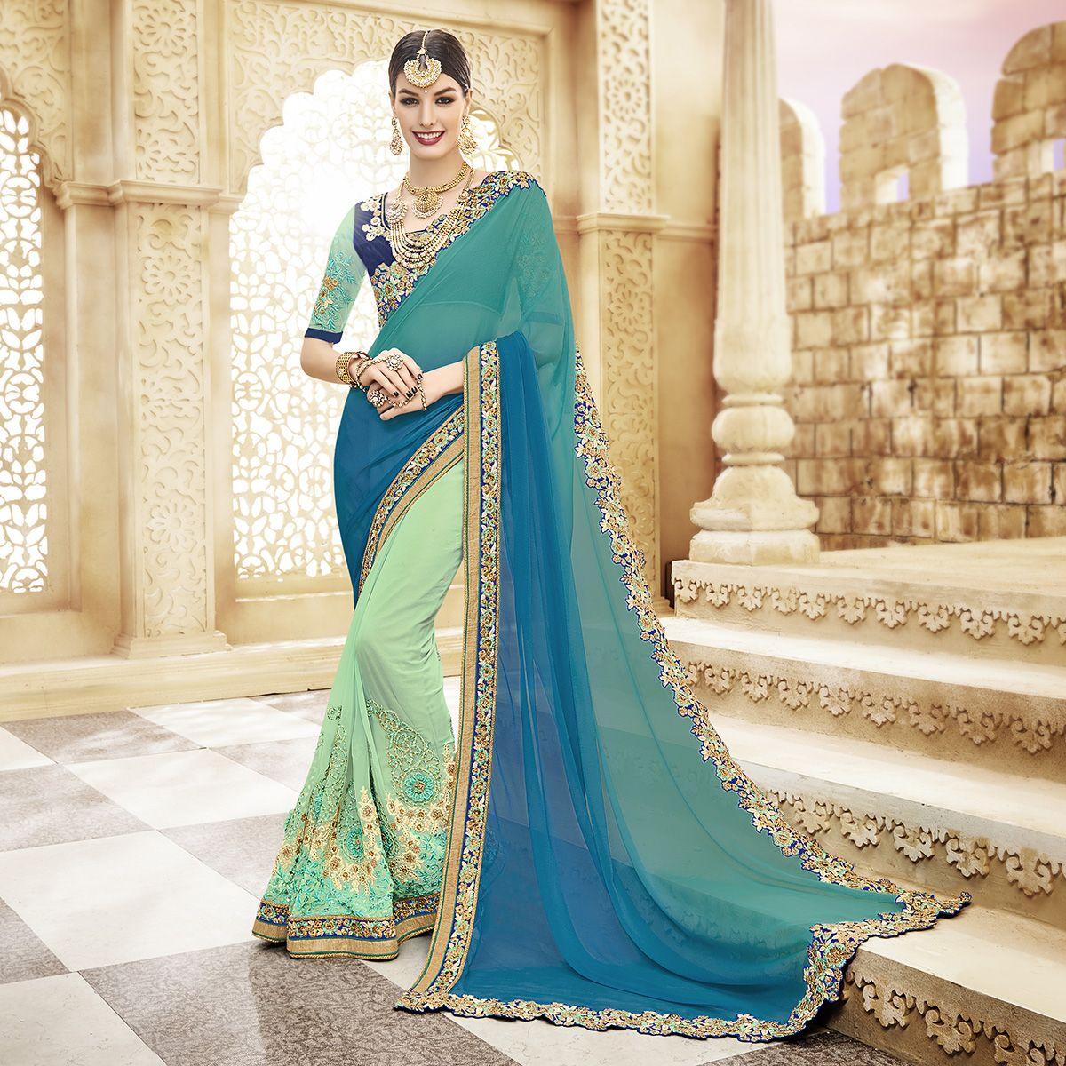 Partywear #Saree #OFF #Sale Awesome Fancy Fabric Half-Half Designer ...