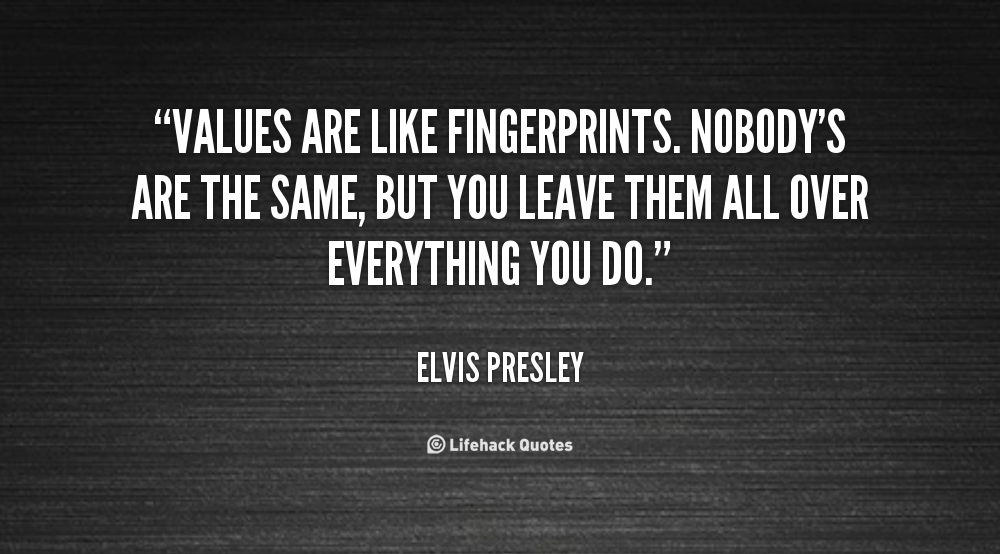 Values are Like Fingerprints… Value quotes, Beginning