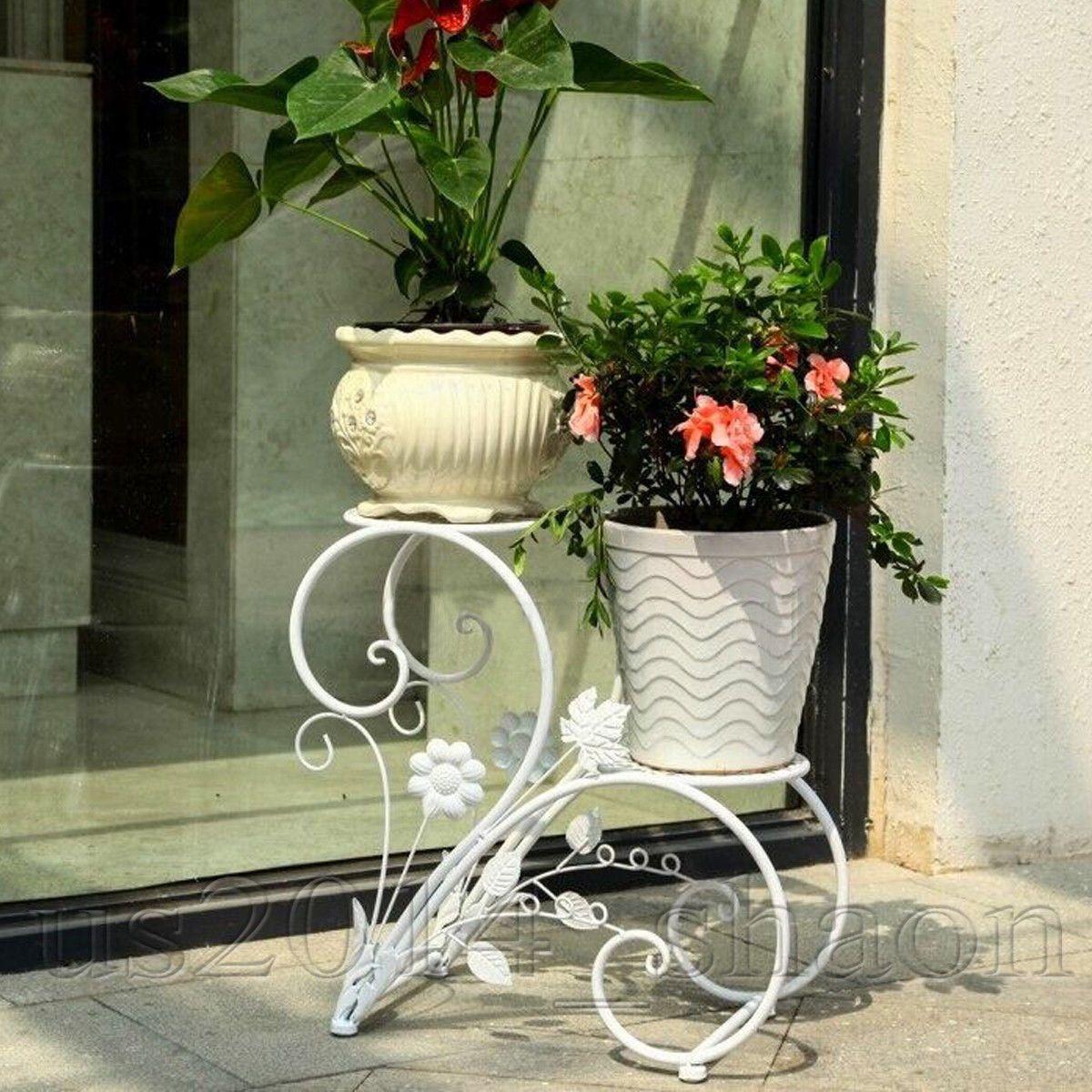 Dazone Metal Plant Stand Flower Pot rack Home Garden Patio Decor ...