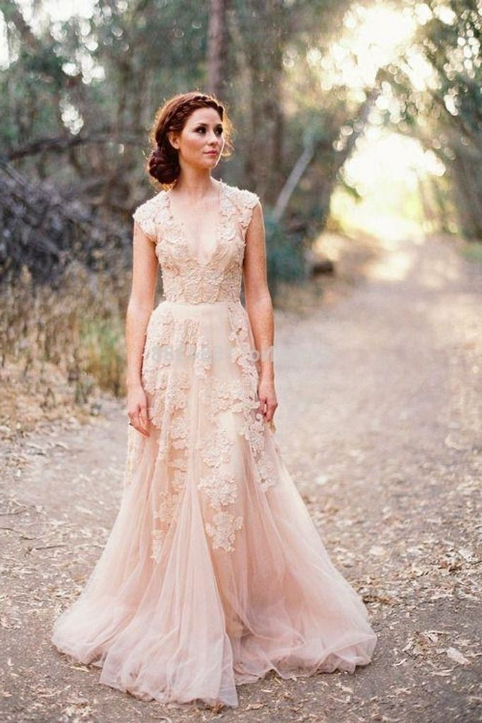 2015 Fashion Sheer V Neck Lace Applique Blush Tulle Sweep Lazaro Wedding  Dress Prices Lazaro Wedding Dress Prices