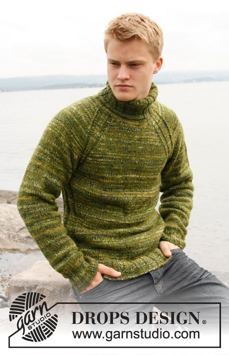 "Knitted DROPS jumper for men with raglan and high neck in ""Alpaca"" and ""Fabel"". Size: S to XXXL. ~ DROPS Design"
