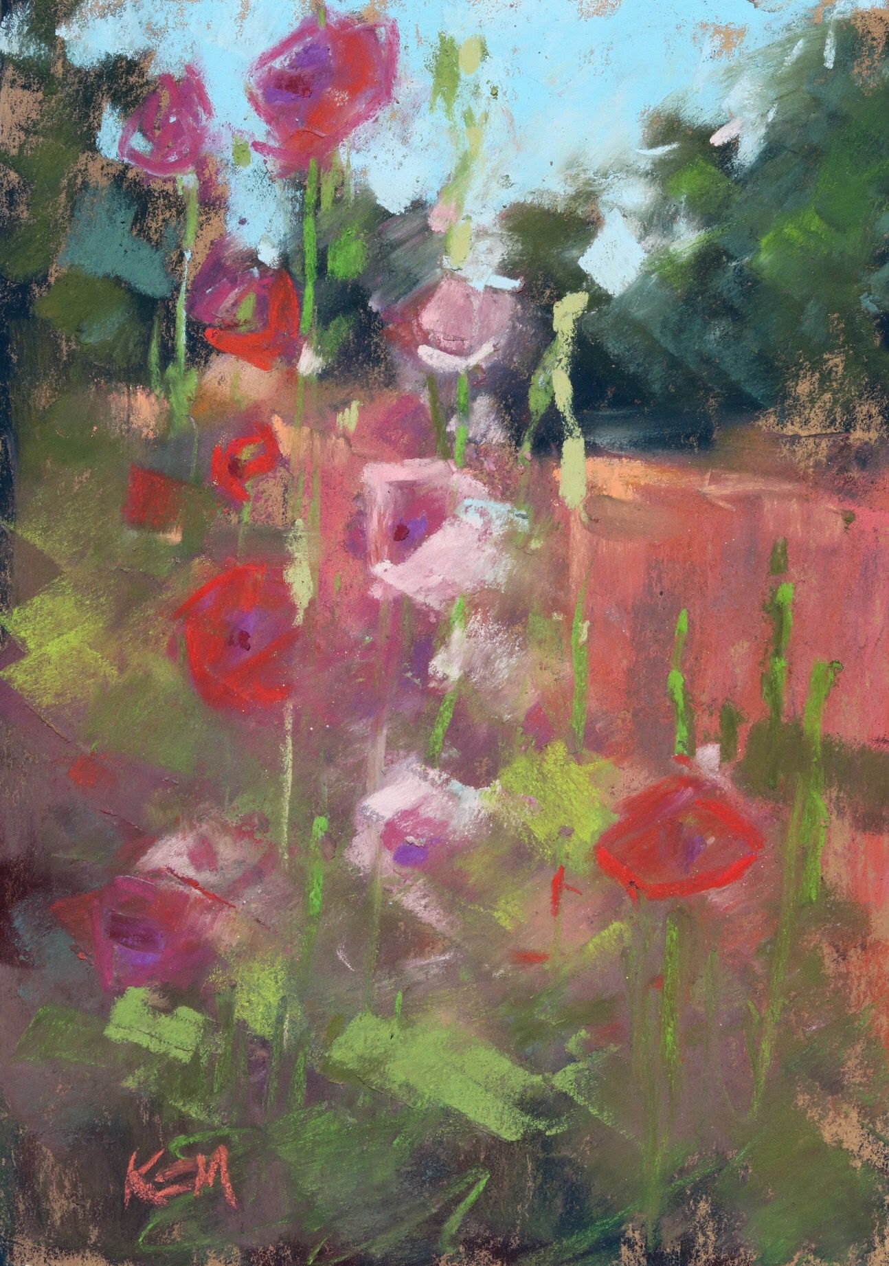 Karen Margulis - 'Old Town Hollyhocks'. 5x7. Pastel.