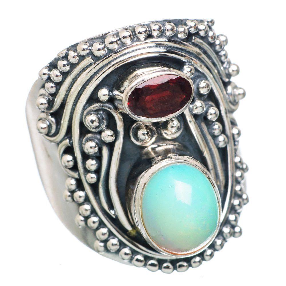 Natural ethiopian opal garnet sterling silver ring size