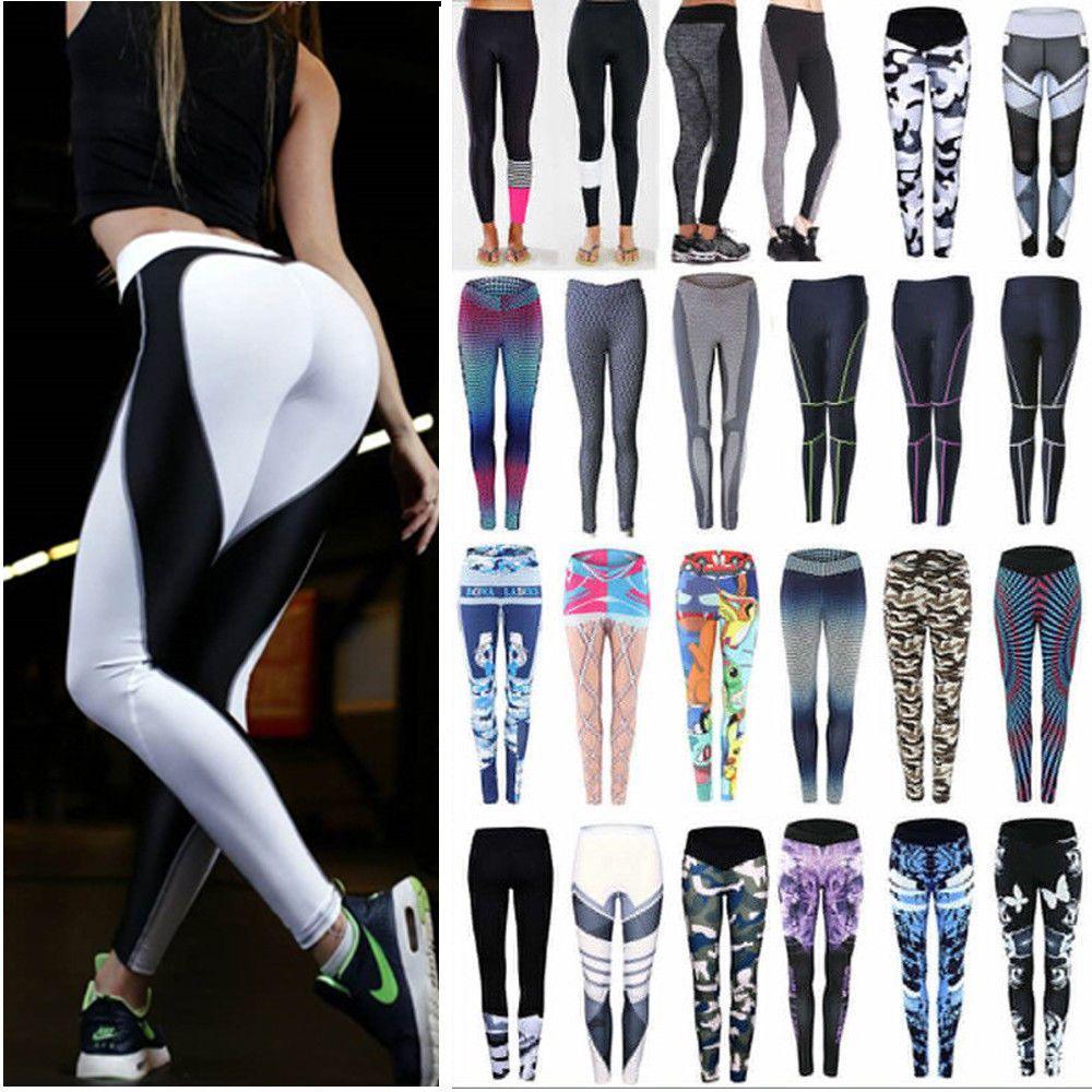 e4390ba5e0736 women yoga fitness leggings running gym Pants stretch Clothes Plus Size  Pants