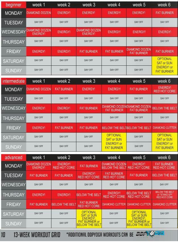 DDP Yoga schedule, Week 5 almost over. | Meh | Yoga, Yoga ...
