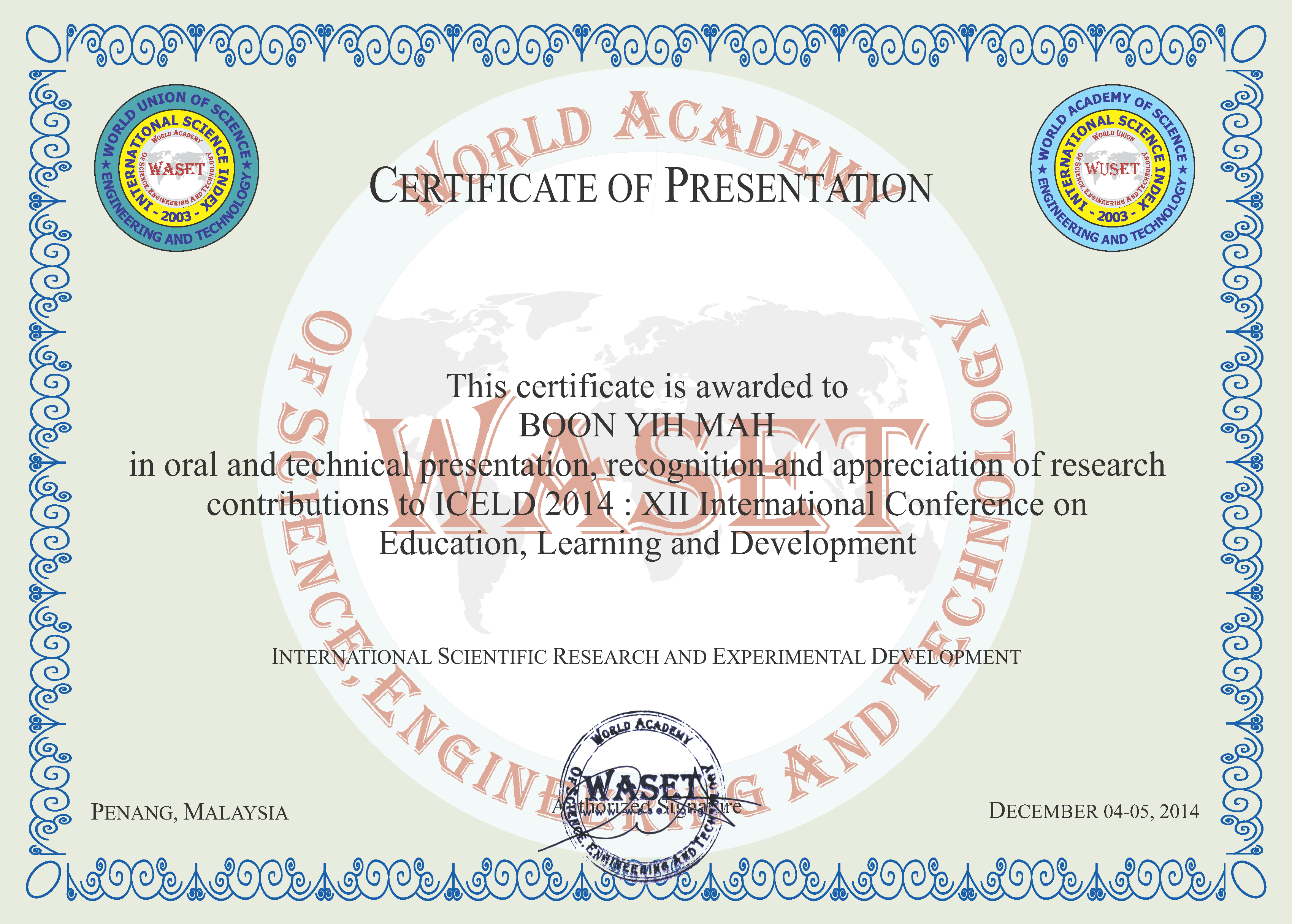 Xi international conference on education learning and for International conference certificate templates