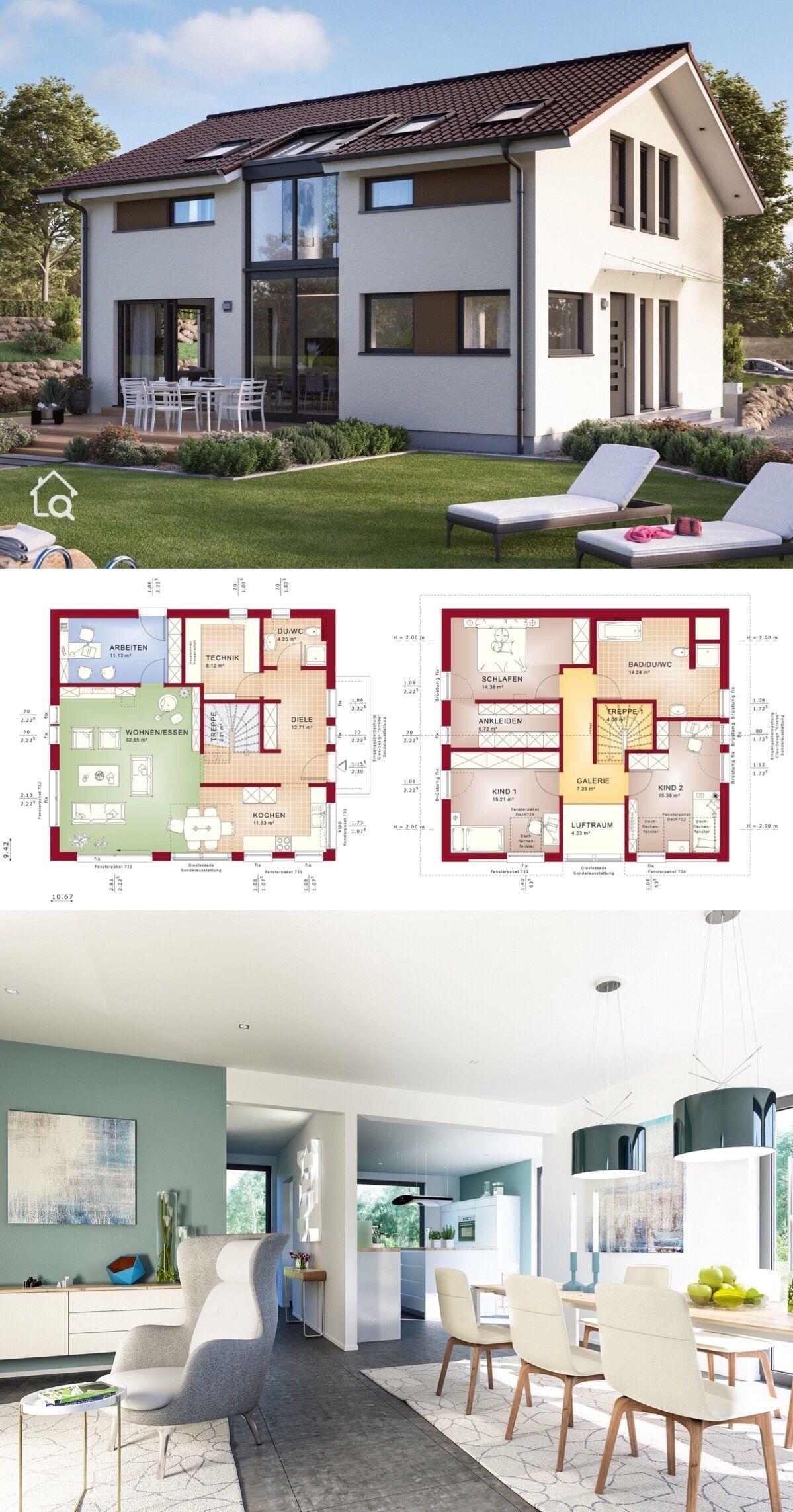 Modernes Fertighaus Mit Galerie Satteldach Architektur 5 Zimmer Grundriss Quadratisch 160 Qm Zwei Etagen Haus Moderne Hauser Bauen Architektur Haus Design