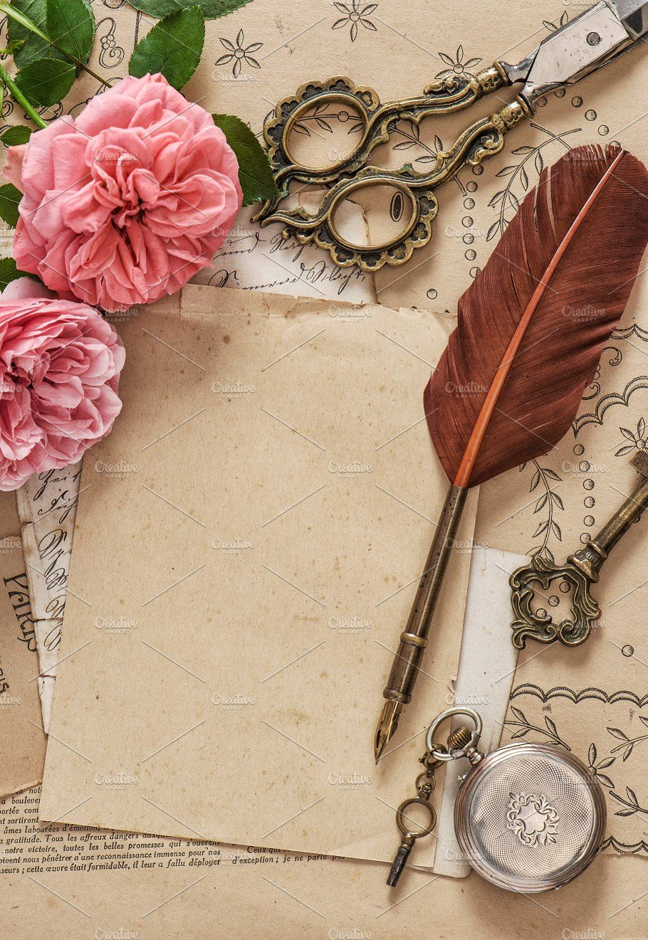Old Letters Rose Flowers Antique Pen Old Letters Letter Photography Background Images For Quotes