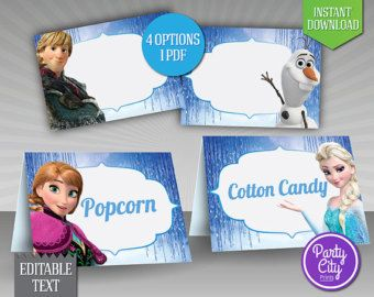 photograph about Frozen Food Labels Free Printable named Frozen+Disney+Cost-free+Printable+Foodstuff+Tents Caitlynns 3rd