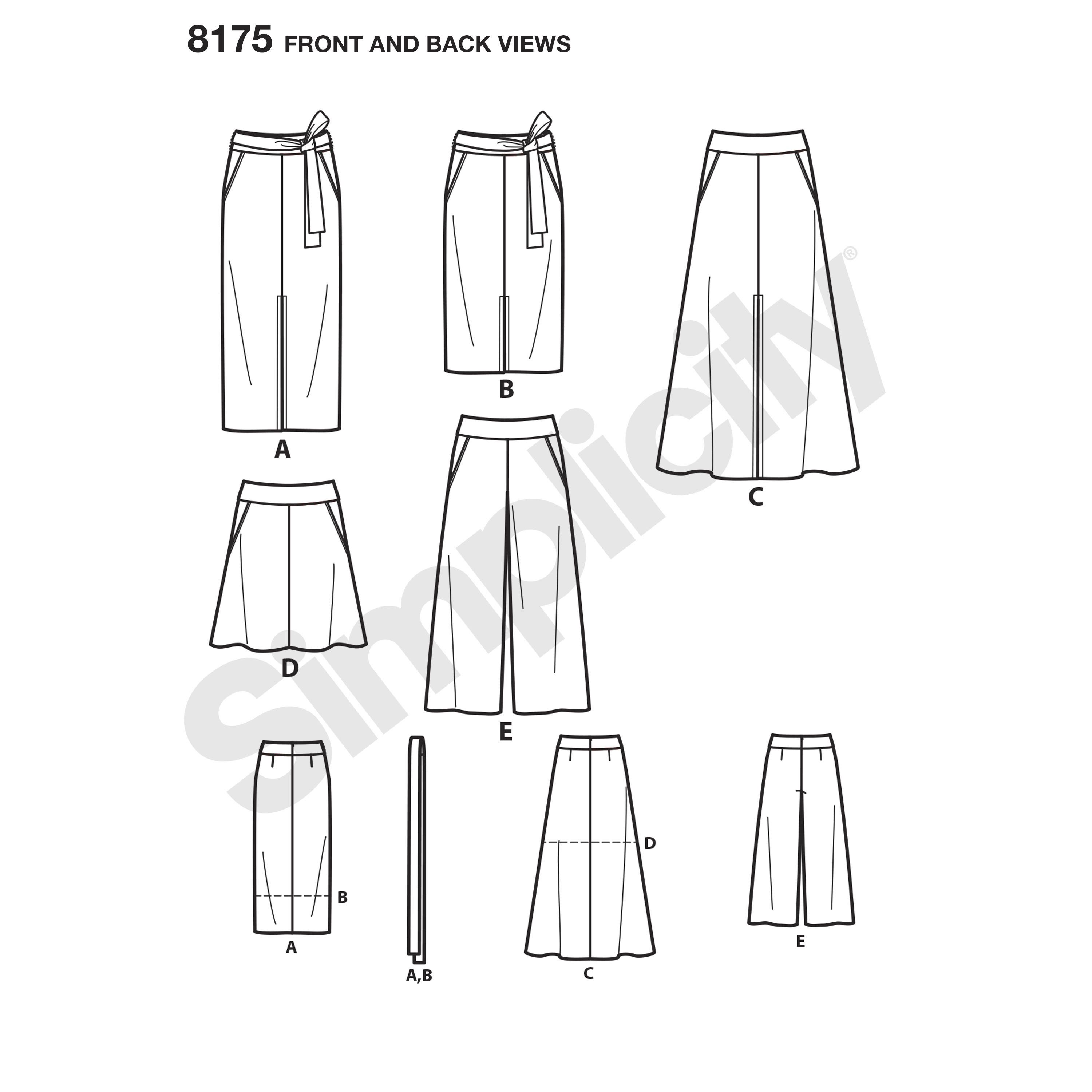 medium resolution of simplicity pattern 8175 misses slim and flared skirts cropped pants and tie belt