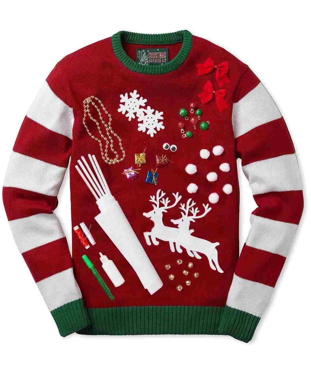 Ugly christmas sweater red. Great clipart people diy
