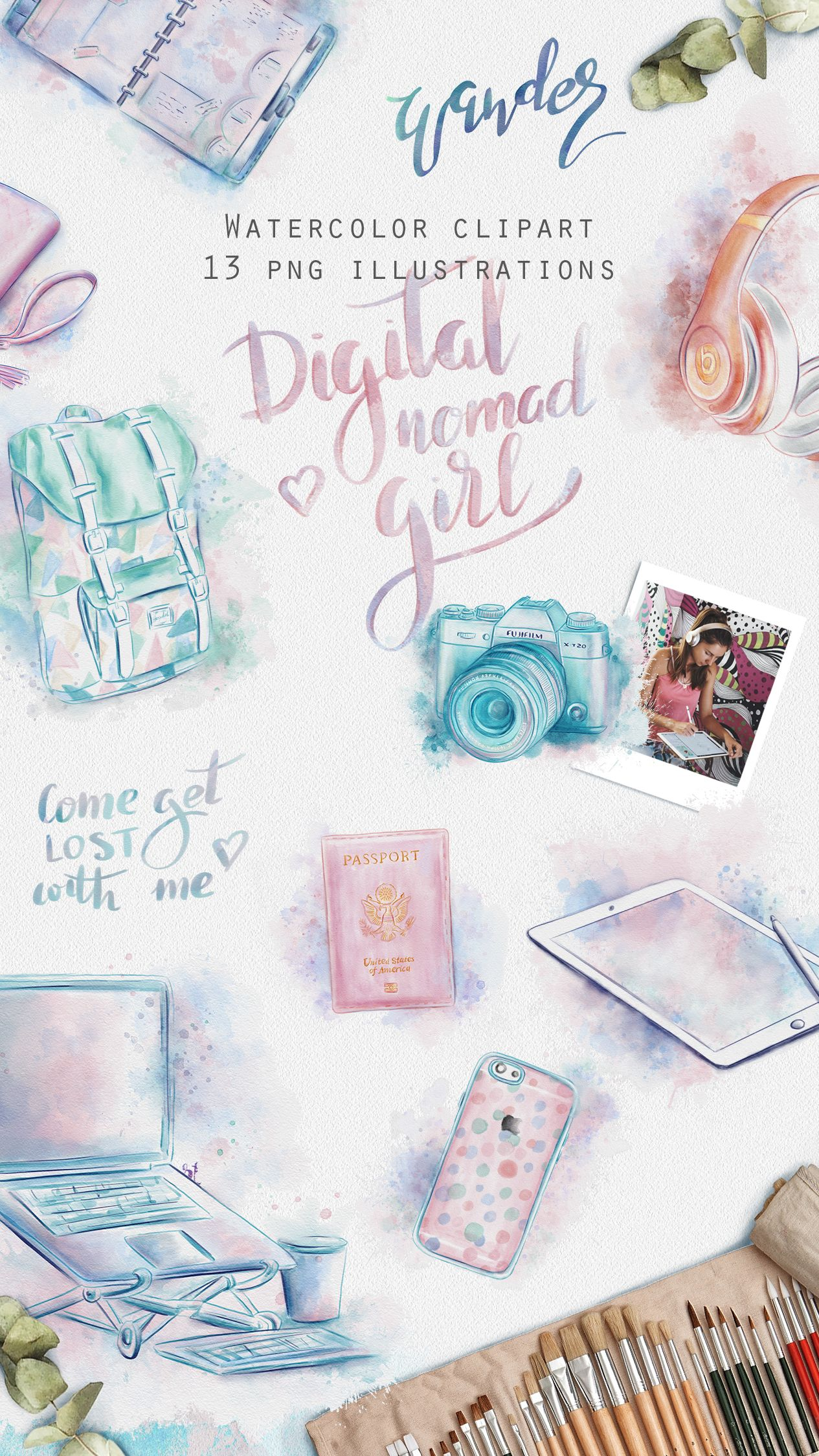 Travel girl watercolor clipart travel stickers commercial use if you are a journal junkie as i am then this watercolor clipart hopefully freerunsca Image collections