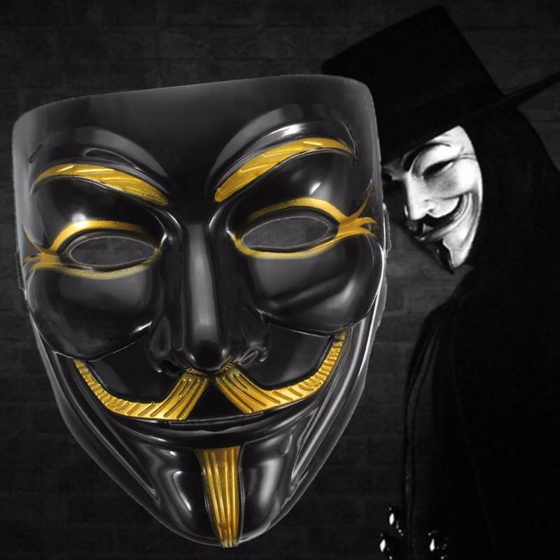Black Anonymous Mask V For Vendetta Guy Halloween Men Cosplay