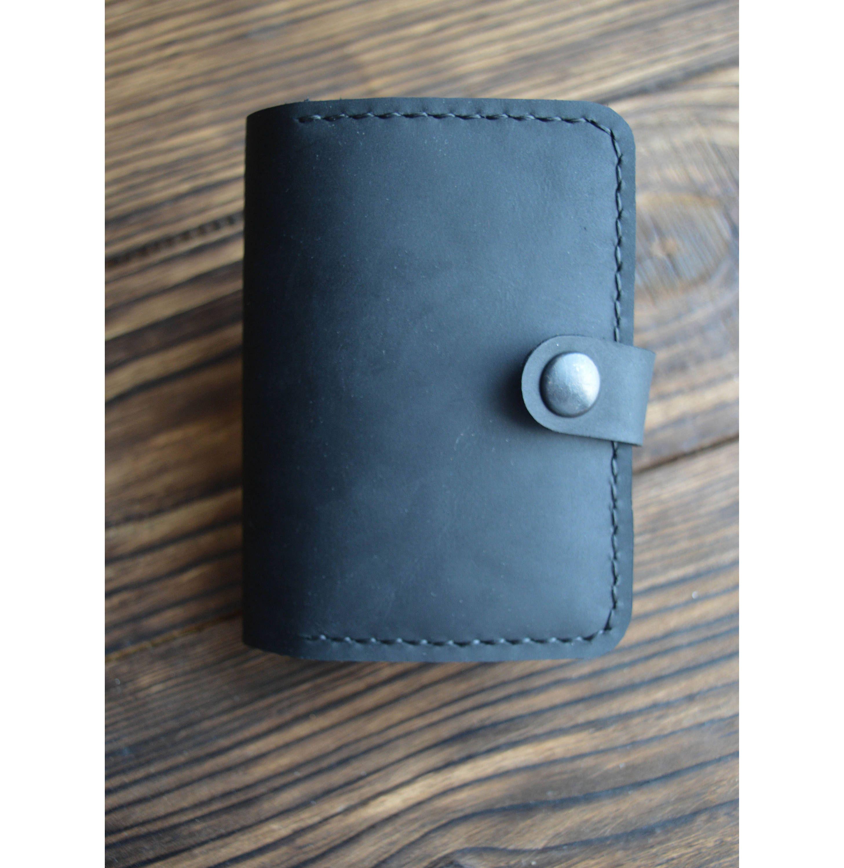 Handmade leather credit card holder black leather card