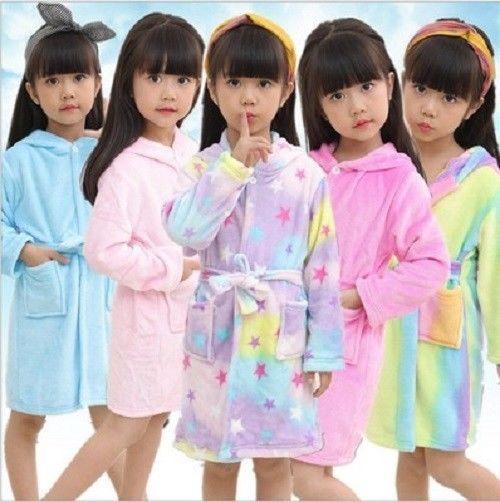 Kids Unicorn Bathrobe Christmas Pajamas Unisex Robe Pegasus Hooded
