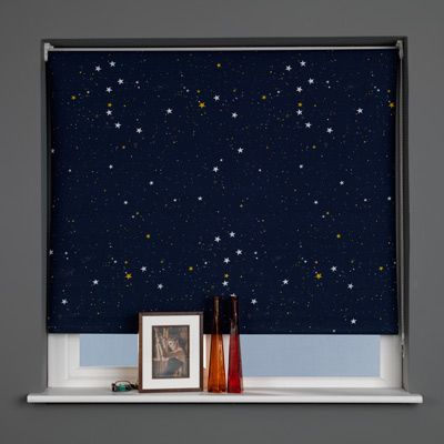 sunlover patterned thermal blackout roller blind star navy w120cm