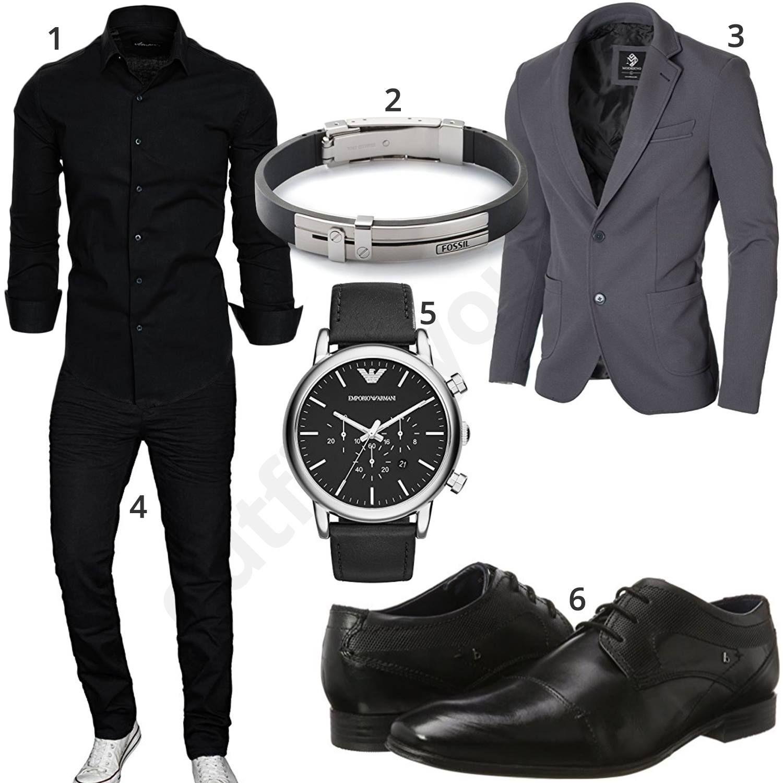 schwarzes business outfit mit sakko hemd und grauem sakko. Black Bedroom Furniture Sets. Home Design Ideas