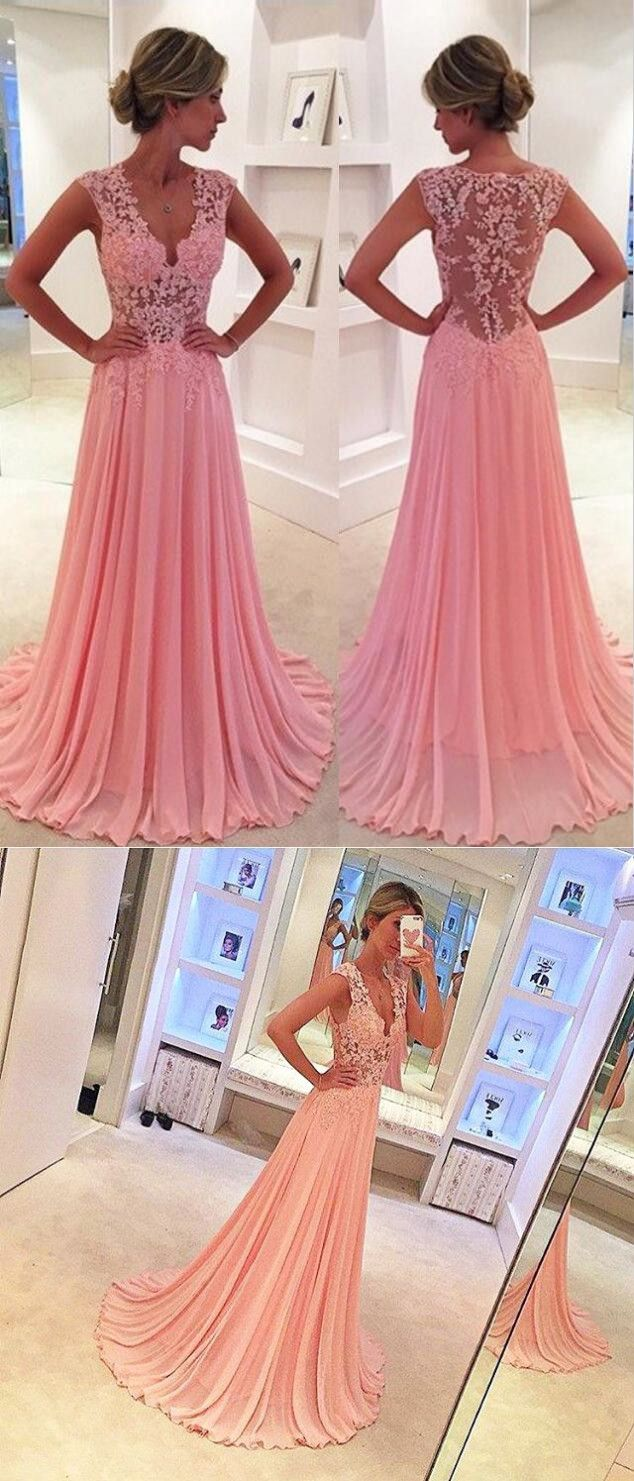A-Line V-Neck Sweep Train Side-Zipper Pink Chiffon Prom Dress with ...