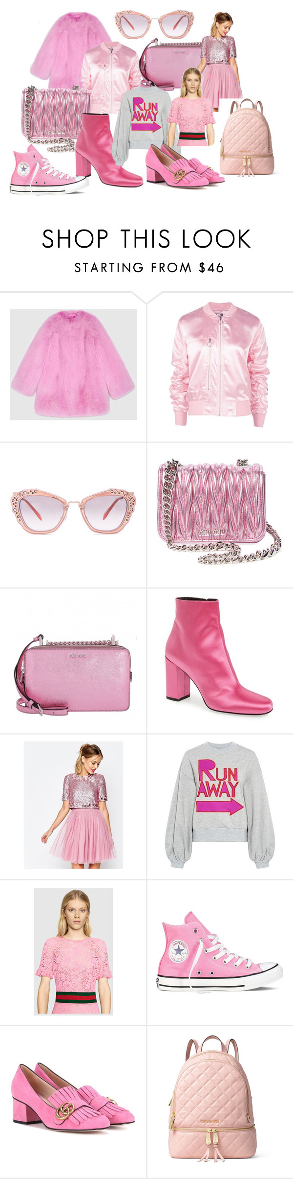 """pink things"" by sabrinabuizza on Polyvore featuring mode, Gucci, Boohoo, Miu Miu, Yves Saint Laurent, ASOS, Karen Walker, Converse et MICHAEL Michael Kors"