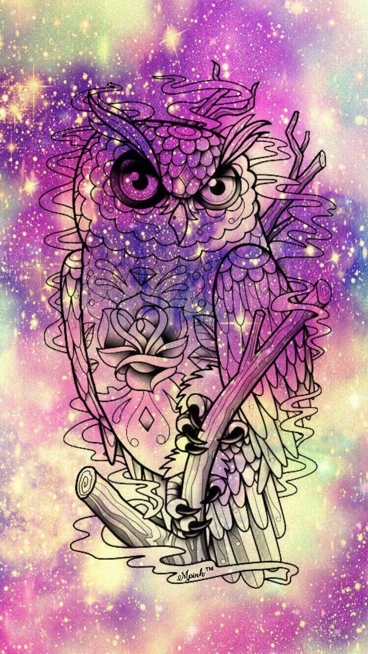 Glitter purple owl wallpaper wallpaper creations