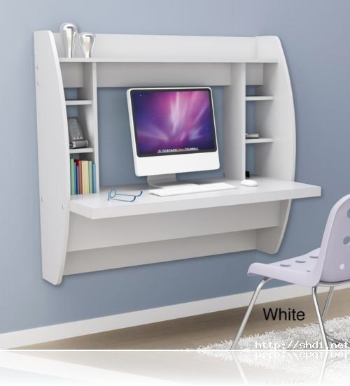 Small Spaces · White Floating Computer Desk Storage ...